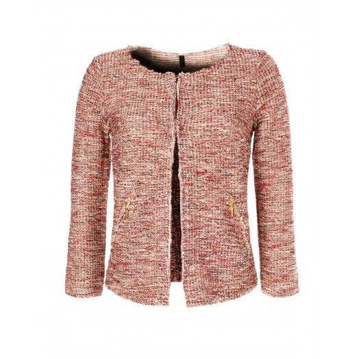 Giacchina stile Chanel, in felpa di cotone tinto filo fiammato con inserti  in lurex,
