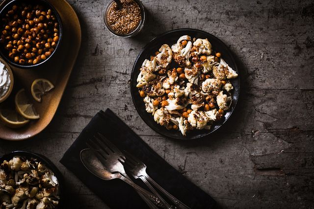 Sriracha-Roasted Chickpeas & Cauliflower with Pickled Mustard Seeds by carey nershi, via Flickr - DARK FOOD STYLE PHOTOGRAPHY