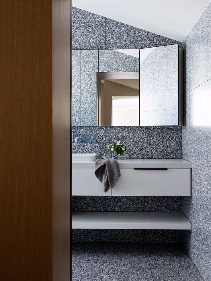 Signorino's Italian Terrazzo tiles from floor to ceiling. Colour: EM-6906 Designed by Pandolfini Architects.   Photo: Rory Gardiner