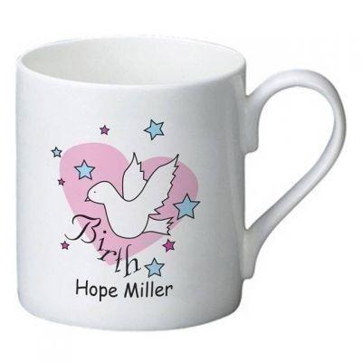 Dove & Hearts Pink Birth Bone China Mug. £9.99 #Dove #Hearts #BoneChina #NewBaby #Newborn #NewBabyGifts #Baby #PersonalisedGifts #PersonalisedBabyGifts