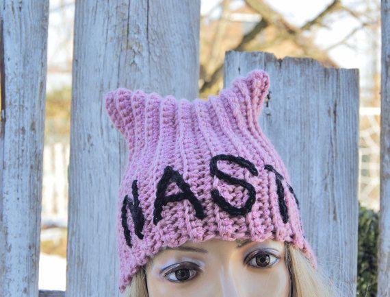 Pussyhats Beanie Hat PINK Nasty women crochet Beanie by Degra2