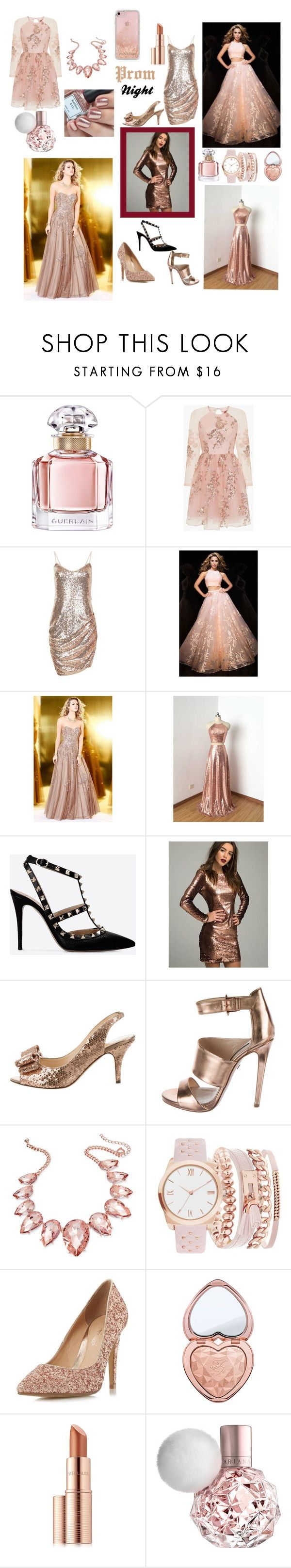 """Prom Night"" by whitecastlenine ❤ liked on Polyvore featuring Guerlain, Chi Chi, Tony Bowls, Valentino, Kate Spade, Ruthie Davis, Thalia Sodi, A.X.N.Y., Head Over Heels by Dune and Too Faced Cosmetics"