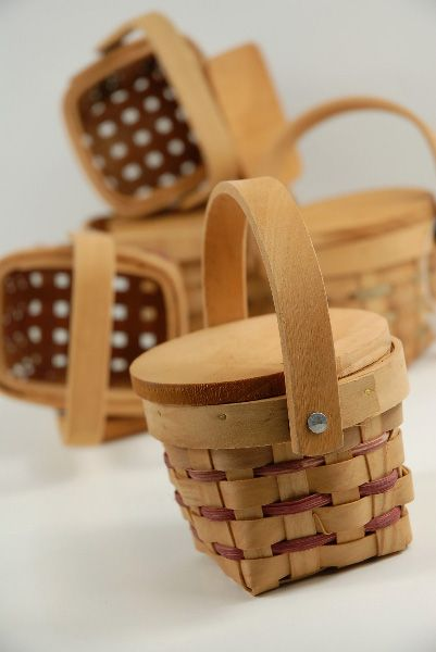 """Picnic Baskets Miniature 3"""" Wood with Lids $2.99 each / 12 for $2.50 each For Minnie picnic party"""