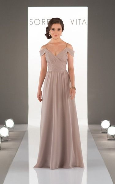 Romantic bridesmaid dress idea - Delicately-ruched, the bodice of this boho bridesmaid dress crosses in front, creating a slight V neck that is accentuated perfectly with skinny straps and off-the-shoulder straps.  Style 8922 by Sorella Vita. See more Sorella Vita dresses by @essensedesigns on @weddingwire!