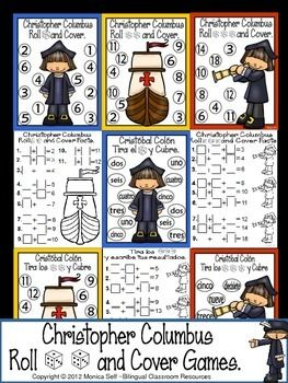 FREE!!  Celebrate Christopher Columbus/Cristobal Colón Day with this cute math independent center.  Students roll 1,2 or 3 dice, add the numbers, and cover up the sum. First to cover all their numbers, wins!   Each game board has the number of dice to roll.