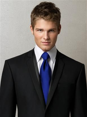 alfred sung men's neck tie in royal blue with a Black Tux... nice!