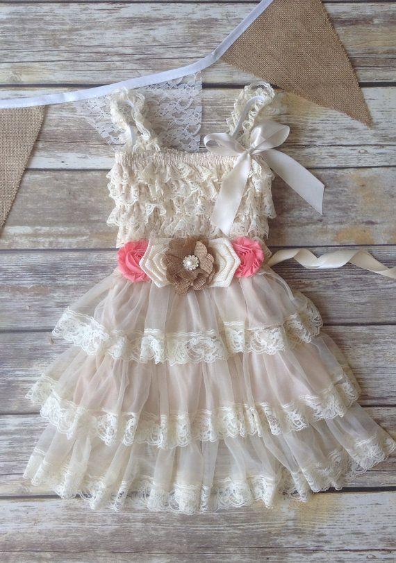 Tan Beige Coral Lace Burlap Girl Dress, Country Western Wedding, Tan Beige Flower Girl Dress, Toddler Vintage Dress, Photo Prop Rustic