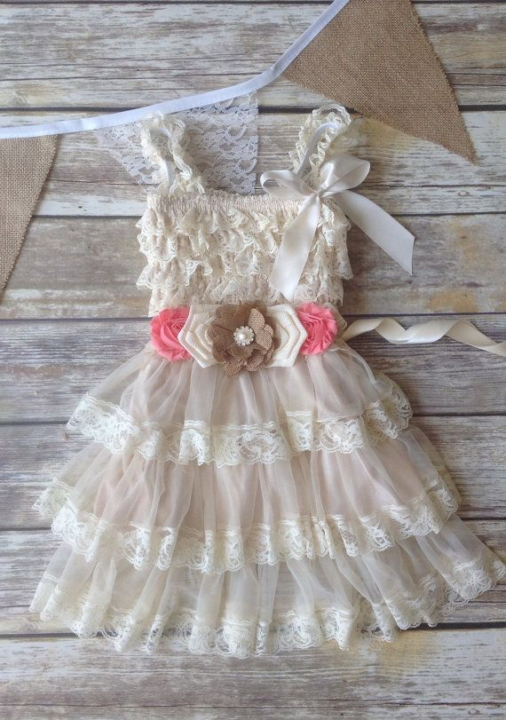 Tan Beige Coral Lace Burlap Girl Dress, Country Western Wedding, Tan Beige Flower Girl Dress, Toddler Vintage Dress, Photo Prop Rustic