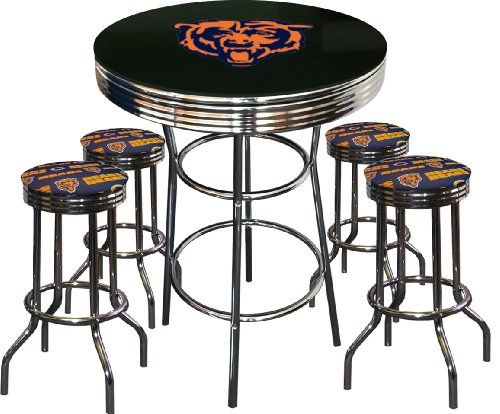 5 Piece Chicago Bears Logo Chrome Finish Black Pub Table W 4 Bar Stools The Furniture Cove Pinterest Packers Green Bay And