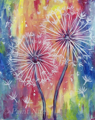 Rainbow Dandelions - Easy beginner painting idea.