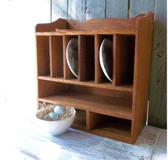 Vintage Wood Pigeon Hole Cubby Mail Slot Rustic Desk