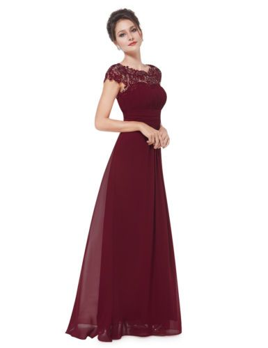 9a5b4f722d UK Ever-Pretty Cap Sleeve Burgundy Bridesmaid Dress Long Lace ...