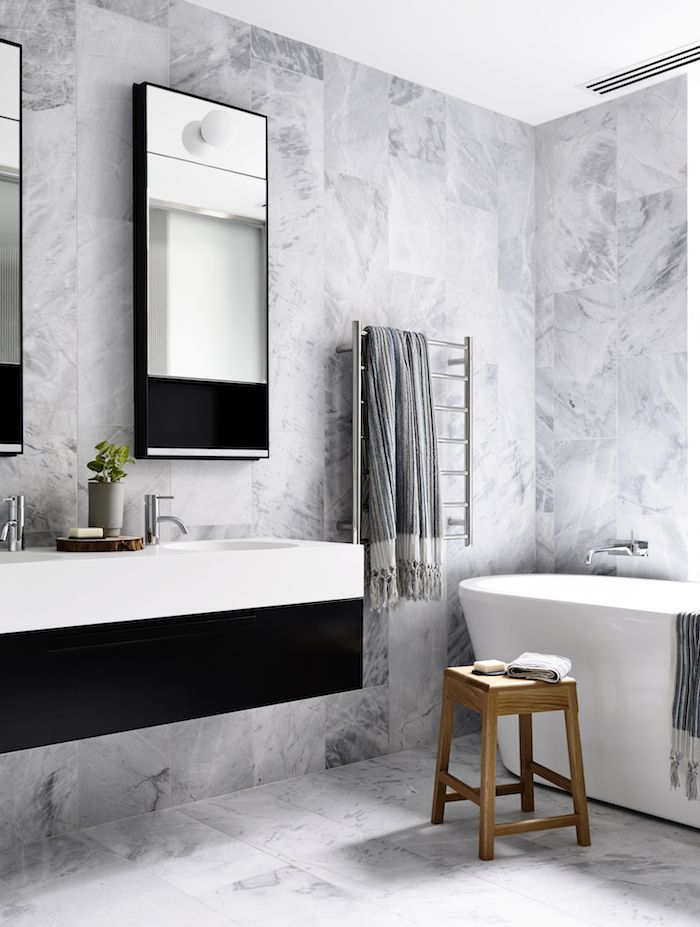 5 bathroom designs in black white grey dust jacket - Bathroom Tile Ideas Black And White