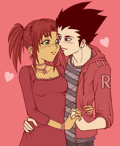 Teen Titans Robin Starfire Kiss