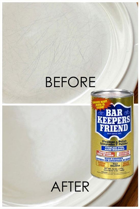 "I just used this on my white dishes and they look like new! I used  glass top cleaner for the stove top along with the bars keepers friend...a little elbow grease and ""ta-da!"" <3gigi...  It Works!!!CLEANING 