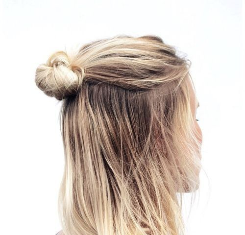 obsessed with this back half bun. Super cute and easy hairstyle