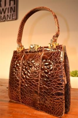 Gorgeous rare 1950\u0026#39;s exotic leather handbag - giant sea turtle ...