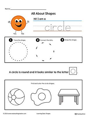 All About Circle Shapes in Color Worksheet.Learn all about the circle shape in this printable worksheet. *FREE* Practice tracing, drawing, and coloring pictures of circle shapes.