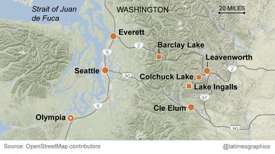 Map of hiking sites around Seattle