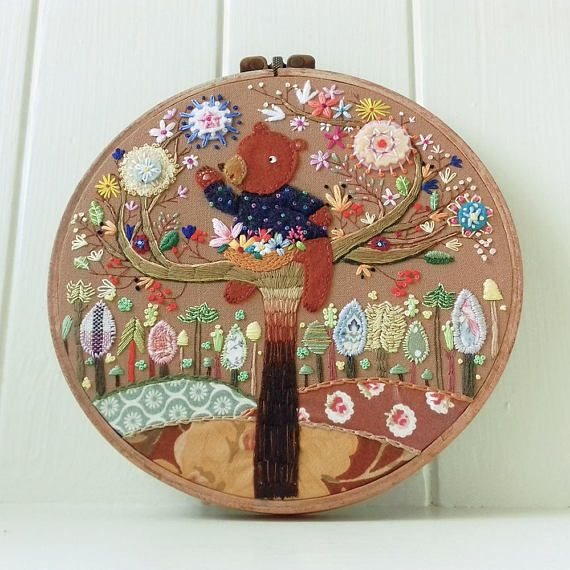 Collecting Flowers  Embroidery Hoop Art  Children's