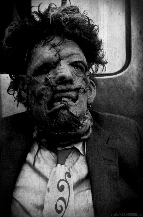 """Gunnar Hansen as """"Leatherface"""" from the film The Texas Chainsaw Massacre (1974) found on cinematicwasteland.tumblr.com"""