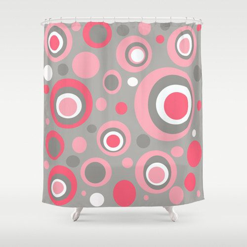 Polka Dot Pink Shower Curtain Mid Century by crashpaddesigns