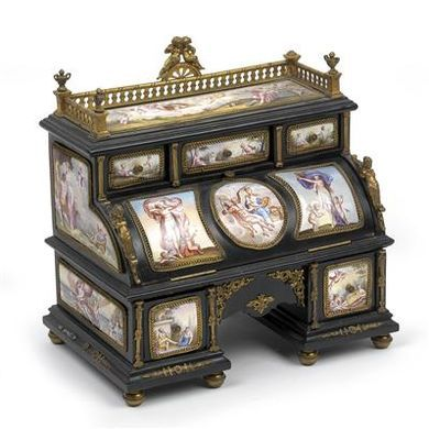 Historicist Musical Box and Inkstand in the form of a Secretaire