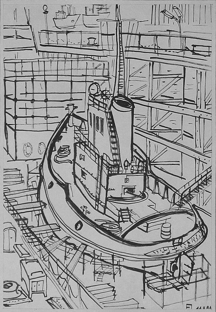 Gdansk -Poland ,tug boat in dry dock