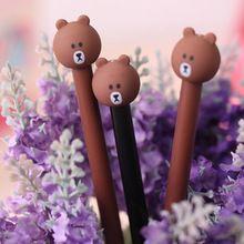 Novedad Brown Bear Gel Ink Pen lindo Corea Del Escritorio de Dibujos Animados bolígrafo de gel negro Papelería Escuela de Papelería de Regalo Promocional(China (Mainland))