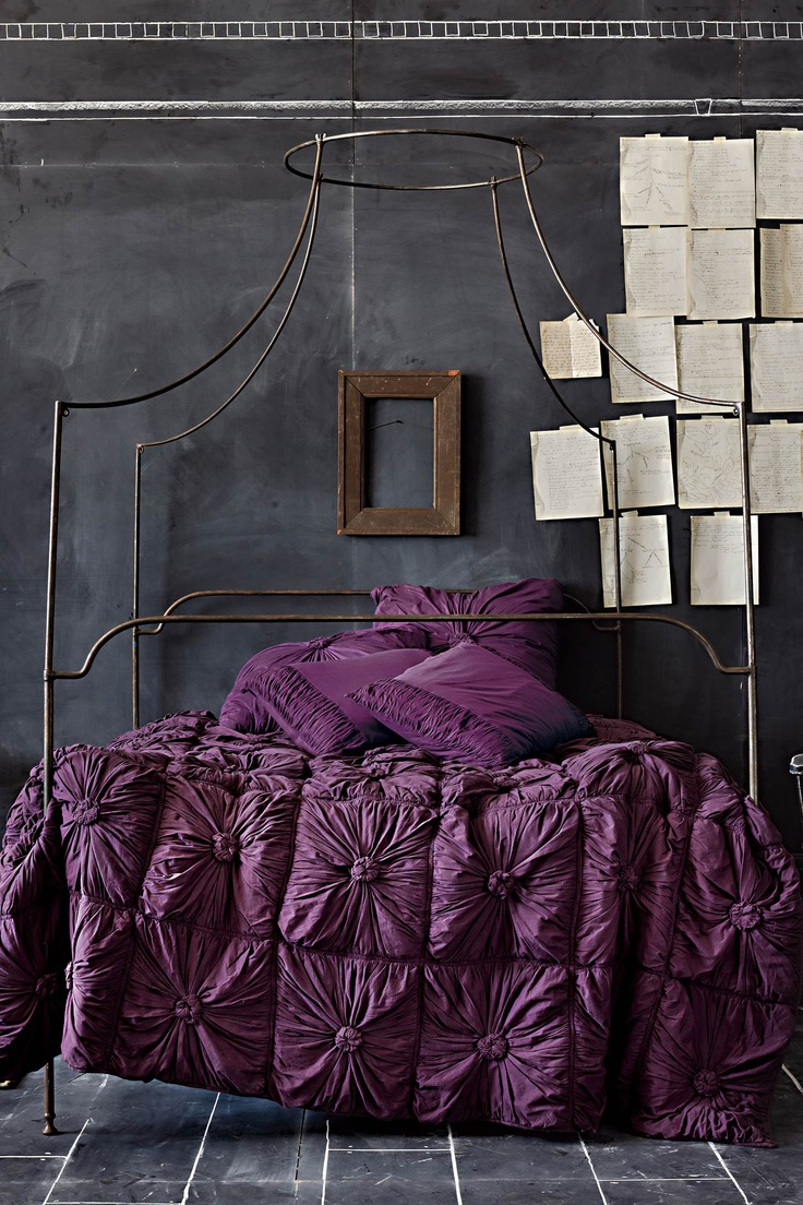 purple bed spread: Purple Beds, Dreams, Color, Beds Spreads, Bedspreads, Beds Frames, Canopies Beds, Purple Bedrooms, Chalkboards Wall