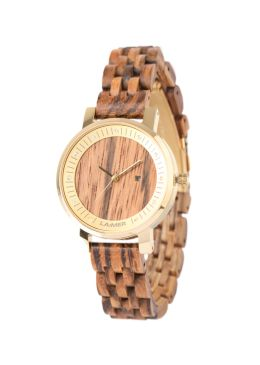 """Wooden watch JENNI: This model is made out of finest Zebrano wood and, therefore, suitable for every occasion. The inwrought Swarovski-beads together with the case made out of golden stainless steel, help """"Jenni"""" appear elegant."""