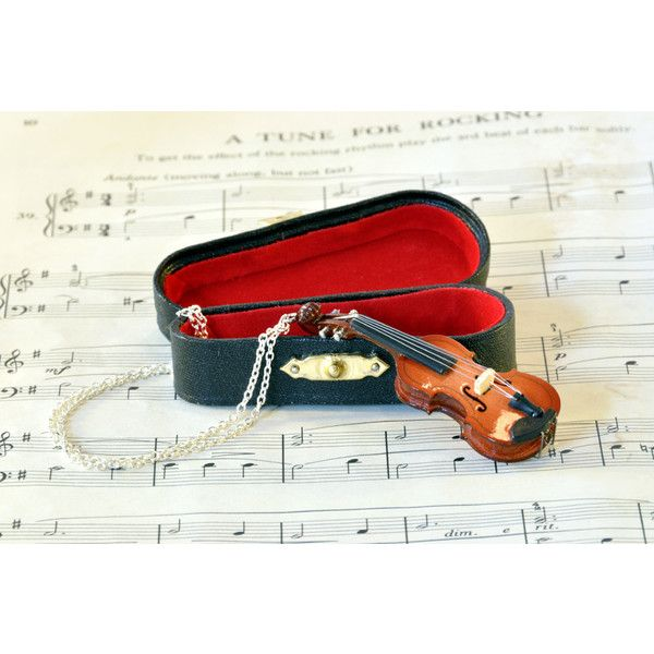 Violin Necklace in Case, Music Jewellery, Fiddle Necklace ($25) ❤ liked on Polyvore featuring jewelry, necklaces and mini necklace