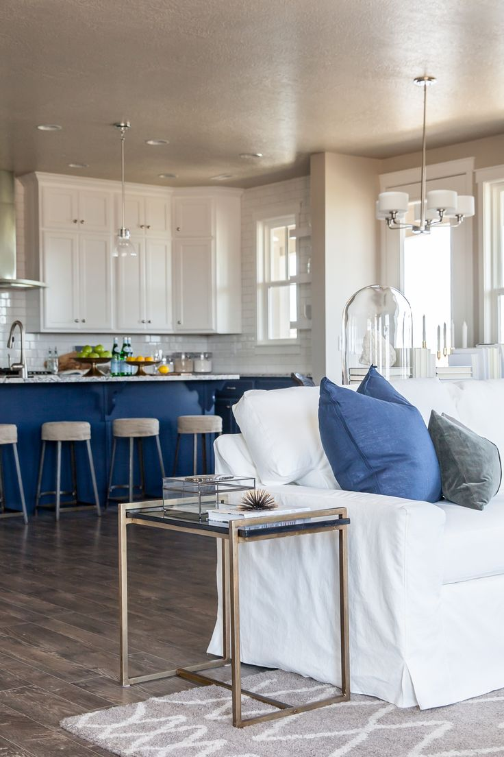, indigo blue kitchen island cabinets  Lindsay Salazar Photography