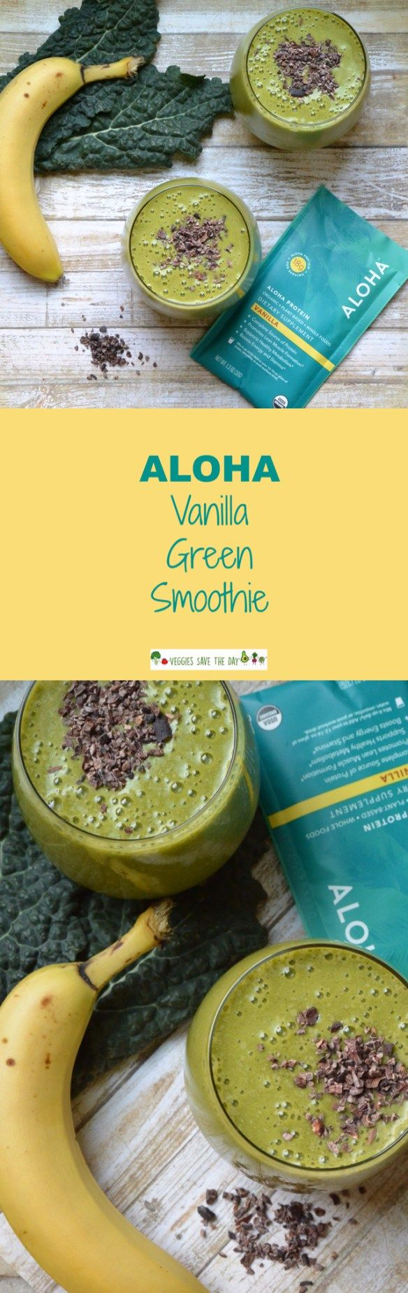 ALOHA protein powder is Non-GMO, soy-free, non-dairy, gluten-free, and vegan. It contains pea, hemp, and pumpkin seed proteins, plus it tastes great! Get this recipe for ALOHA Vanilla Green Smoothie and more like this when you visit www.veggiessavetheday.com, or pin and save for later!
