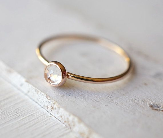 Rose Cut Ring Topaz Gold Ring White Topaz Jewelry by Luxuring