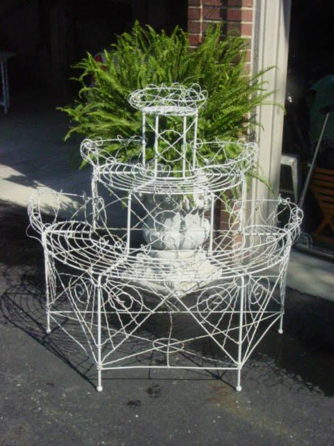 Antique Victorian French Wire Plant Stand Wedding Decor Reduced Serenity Victorian And Plants