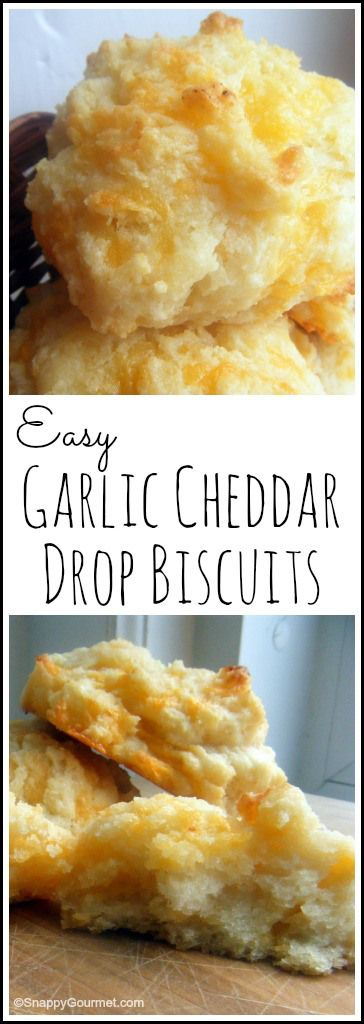 Homemade Garlic Cheddar Drop Biscuits recipe - Easy copycat Red Lobster biscuit from scratch. SnappyGourmeet.com