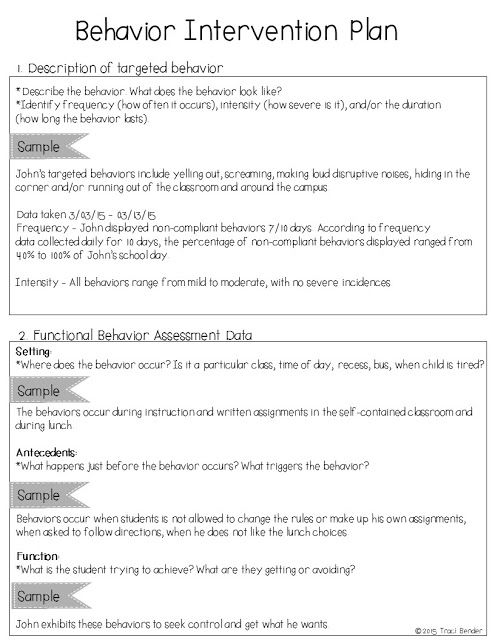 Behavior Intervention Plan Sample