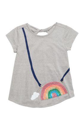Jessica Simpson Girls' Rainbow Purse Tee Girls 7-16 - Gray - Xl
