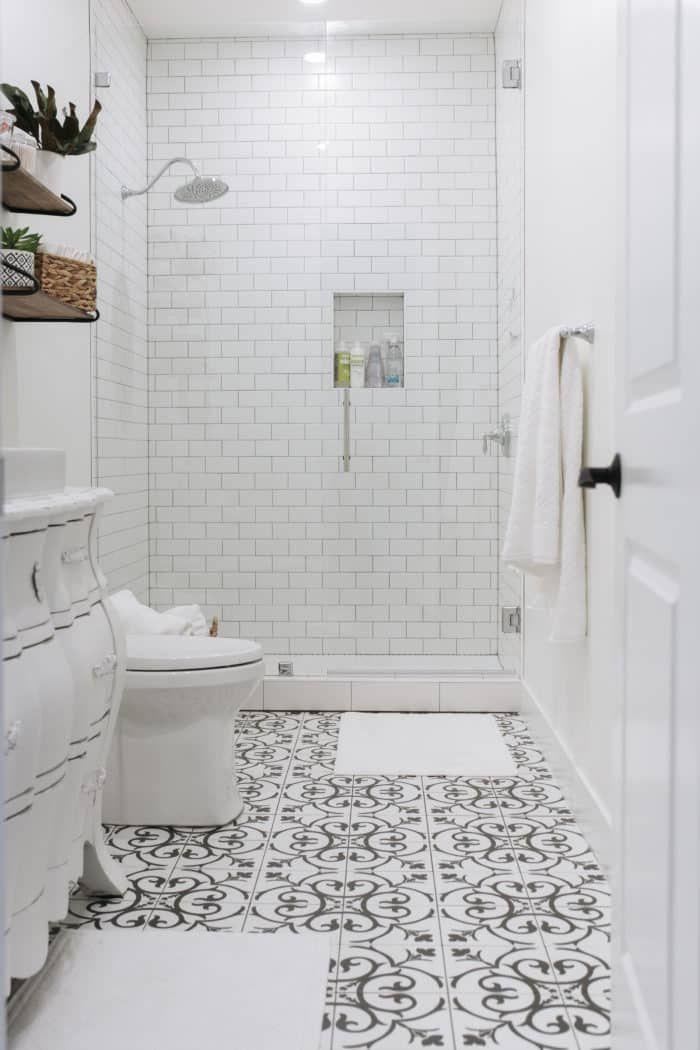 Basement Bathroom Reveal And The Best Tile Of 2018 Black White Tiles Bathroom Gray White Bathroom White Bathroom Tiles