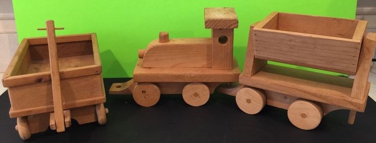 Vintage Wooden Toy Train And Wooden Toy Wagon Collectible Handmade In NC Gift #WoodCrafts