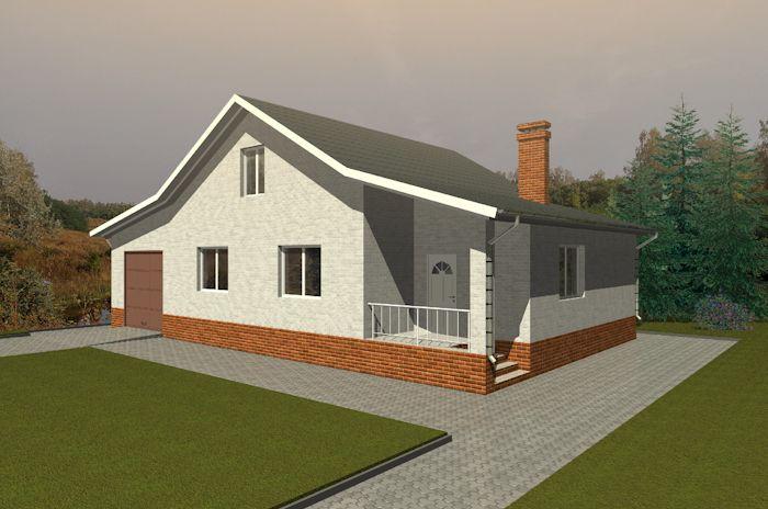 Проект одноэтажного дома с гаражом и двумя спальнями