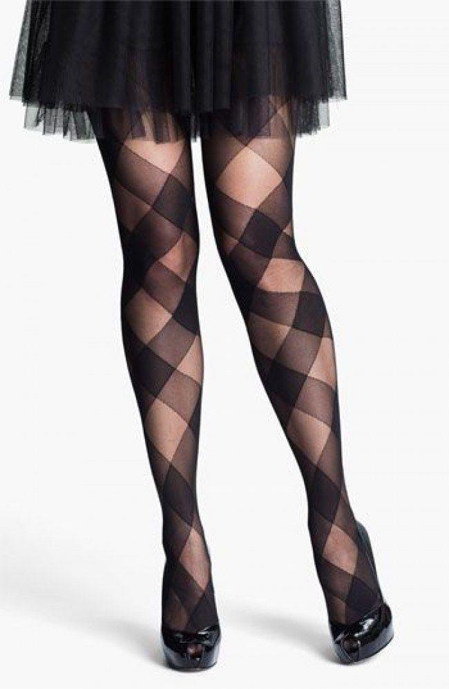 Meia-calça com estampa geométrica