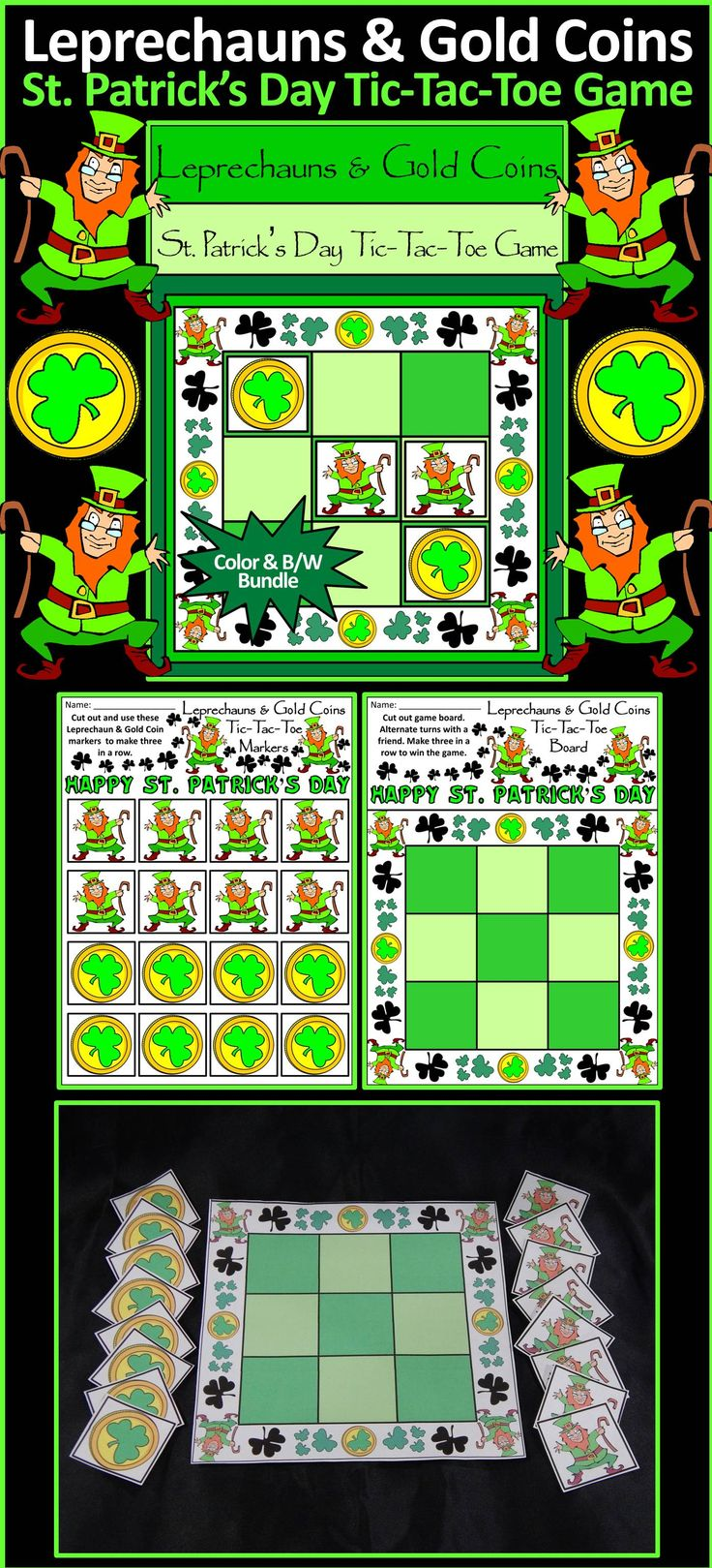 Leprechauns & Gold Coins St. Patrick's Day Tic-Tac-Toe Games: Contains all the necessary components for playing the classic game. All pieces are decorated with Irish Leprechauns & Gold Coins for a rollicking Irish celebration! Great fun as a St. Patrick's Day game or party favor!  #St. #Saint #Patrick's #Day #Games #Party #Activities #Teacherspayteachers