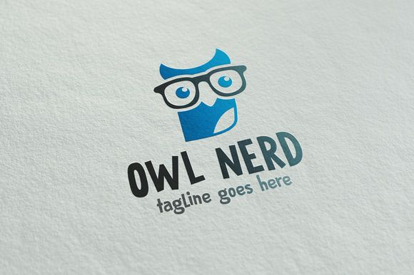 Owl Nerd by It's a Small World on @creativemarket   #owl #logo template