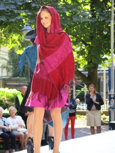Marja Kurki #fashion show in #Helsinki #Finland. Woollen scarf for Marja Kurki, design by Kristiina Sulmio