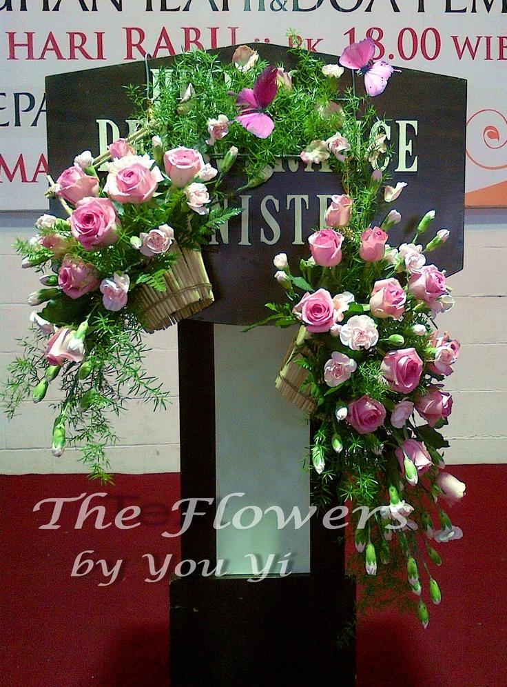 Pink Rose Arrangement in small handmade basket from wooden chopstick.
