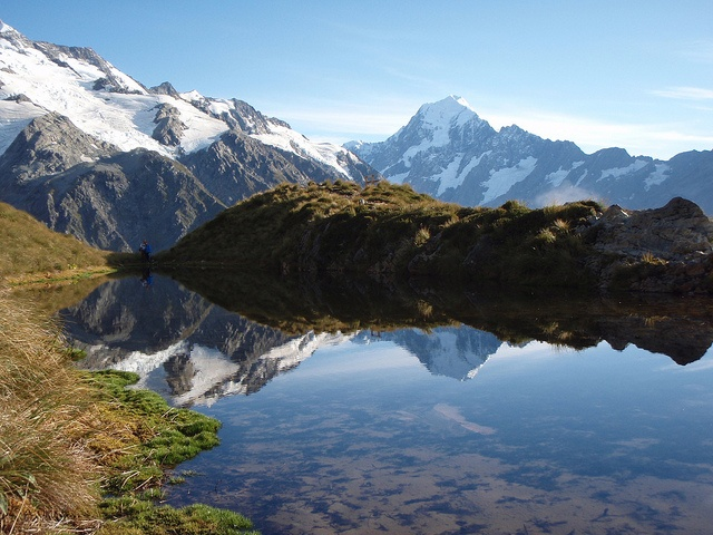 There's nothing like a picture snapped somewhere only accessible by foot. This was shot in 2008 hiking in NZ. That's Mount Cook in background, and reflected.