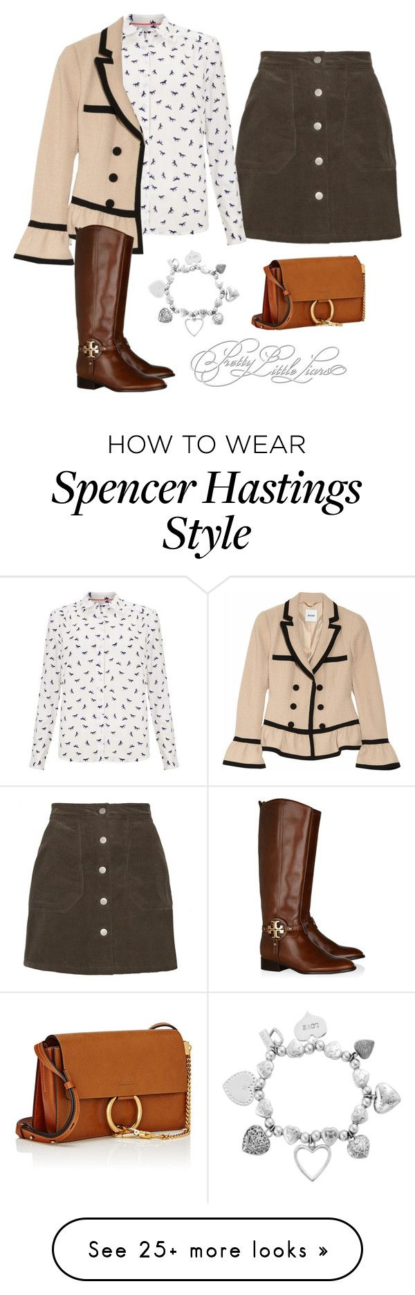"""""""Spencer Hastings"""" by kittylovesxoxo on Polyvore featuring John Lewis, Moschino, Tory Burch, ChloBo and Chloé"""
