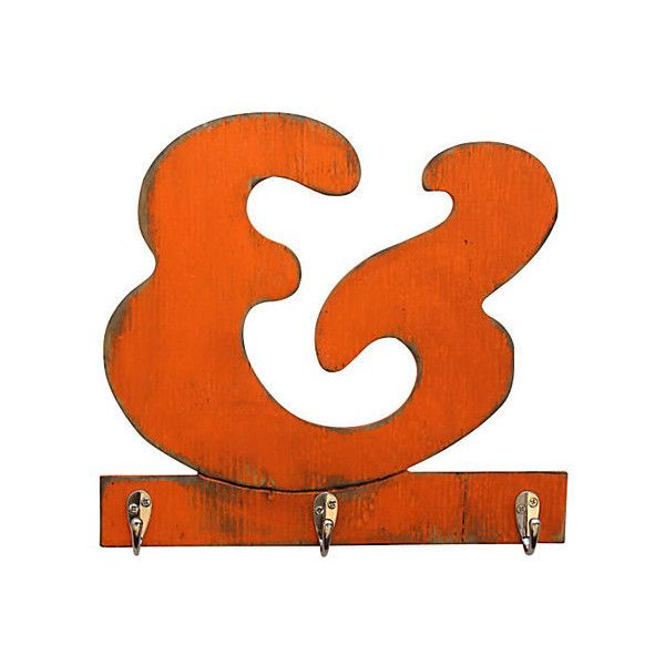 Ampersand key hook orange signs 49 liked on polyvore for Funky home decor accessories